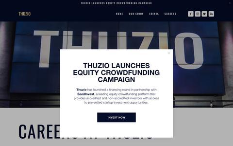 Screenshot of Jobs Page thuzio.com - Careers — Thuzio - captured Aug. 3, 2019