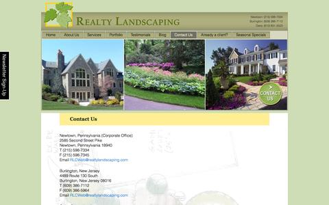 Screenshot of Contact Page realtylandscaping.com - Contact Us For Landscape Design and Maintenance  | - captured Oct. 7, 2014