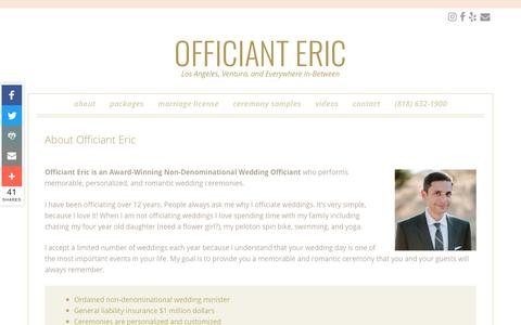 Screenshot of About Page officianteric.com - About Officiant Eric: Non-Denominational Wedding Officiant - captured Oct. 19, 2018