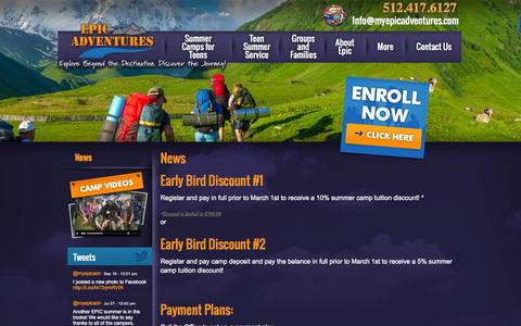 Screenshot of Press Page myepicadventures.com - News | EPIC Adventures Summer Camps - captured Oct. 1, 2014