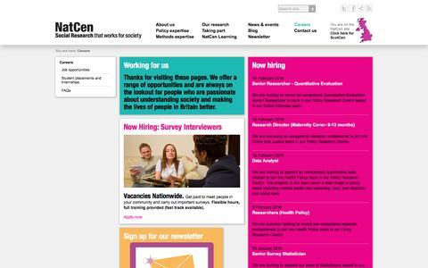 Screenshot of Jobs Page natcen.ac.uk captured Feb. 22, 2016