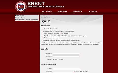 Screenshot of Signup Page brent.edu.ph - Brent International School Manila | Sign Up - captured Oct. 5, 2014