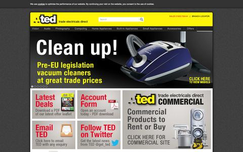 Screenshot of Home Page get-ted.co.uk - Trade Electricals Direct - captured Oct. 5, 2014