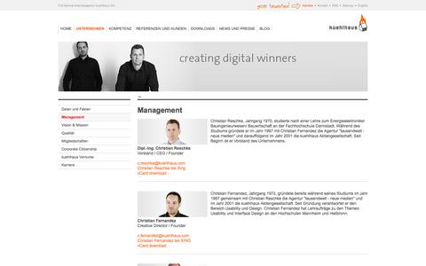 Screenshot of Team Page kuehlhaus.com - Internetagentur kuehlhaus AG: Management der Internetagentur - captured Oct. 27, 2014