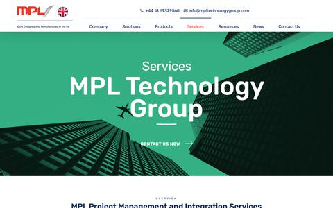 Screenshot of Services Page mpltechnologygroup.com - Services - MPL Technology Group - captured Dec. 17, 2018