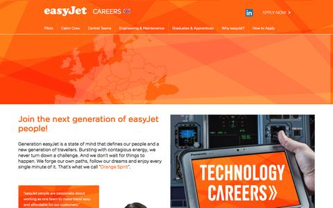 Screenshot of Jobs Page easyjet.com - easyJet Careers - captured March 29, 2016