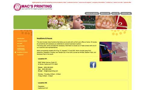Screenshot of Locations Page macsprinting.com - Mac's Printing : Company Information : Locations & Hours - captured Feb. 2, 2016