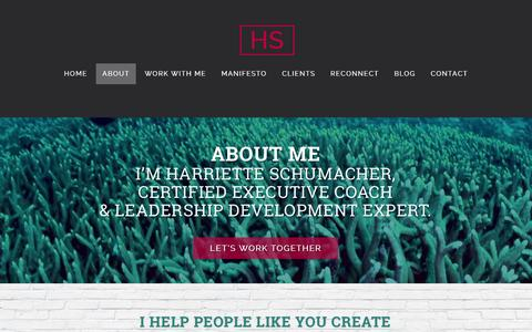Screenshot of About Page harrietteschumacher.com - Leadership Training & Executive Coaching in Halifax | About - captured Nov. 1, 2014
