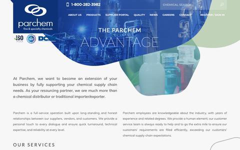 Screenshot of Services Page parchem.com - specialty chemical companies - specialty chemicals company - specialty chemicals distributors - specialty chemical suppliers - captured Sept. 26, 2018