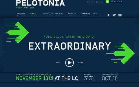 Screenshot of Home Page pelotonia.org - Pelotonia | One Goal - captured Sept. 22, 2014
