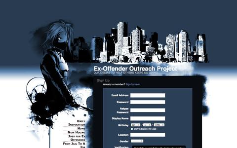 Screenshot of Signup Page webs.com - Signup - Ex-Offender Outreach Project - captured Sept. 13, 2014