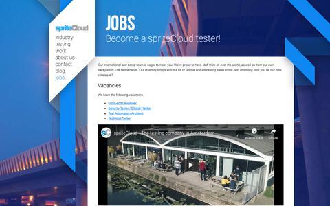 Screenshot of Jobs Page spritecloud.com - Jobs | spriteCloud - captured Nov. 22, 2018