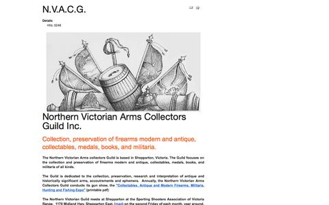 Screenshot of Home Page nvacg.org.au - Northern Victorian Arms Collectors - captured Aug. 31, 2015