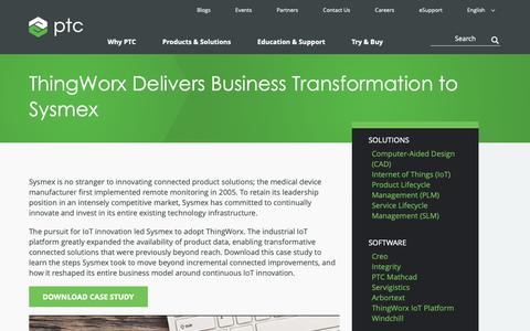 Screenshot of Case Studies Page ptc.com - ThingWorx Delivers Business Transformation to Sysmex | Case Study | PTC - captured Nov. 13, 2018