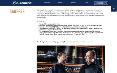 Screenshot of Jobs Page clubchampiongolf.com - Jobs | Club Champion is the #1 premium golf club fitter - captured Aug. 3, 2017