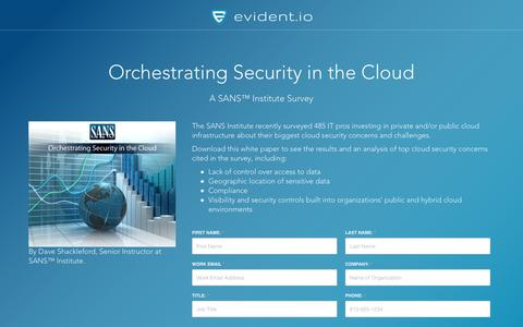 Screenshot of Landing Page evident.io - Orchestrating Security in the Cloud - SANS Institute Whitepaper - captured March 30, 2017