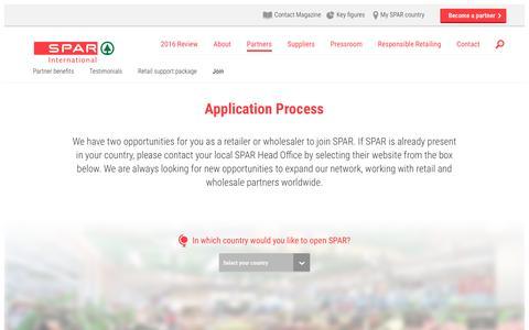Screenshot of Signup Page spar-international.com - SPAR Partner Application Process | SPAR International - captured May 26, 2017