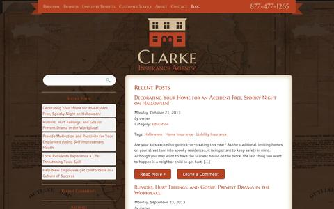 Screenshot of Blog clarkeinsurance.com - Blog | Clarke Insurance Agency - captured Oct. 2, 2014