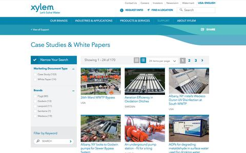 Screenshot of Case Studies Page xylem.com - Case Studies for Water and Wastewater Solutions - Xylem Inc.   Xylem US - captured Nov. 16, 2017