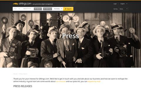 Screenshot of Press Page ewings.com - eWings.com - Press Room of eWings.com - captured Oct. 2, 2015