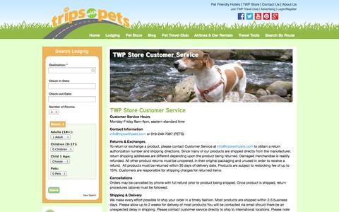Screenshot of Support Page tripswithpets.com - TWP Store Customer Service - TripsWithPets.com - captured Sept. 24, 2014