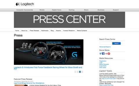 Screenshot of Press Page logitech.com - Logitech Online Newsroom | - captured Oct. 27, 2015