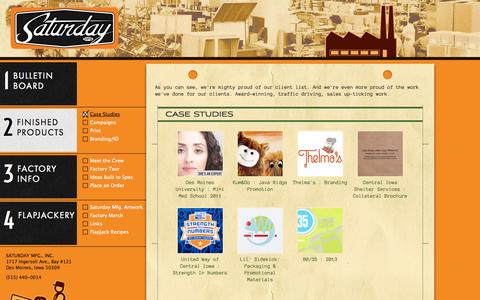 Screenshot of Case Studies Page saturdaymfg.com - Marketing ideas. With a side of flapjacks. - captured Sept. 30, 2014