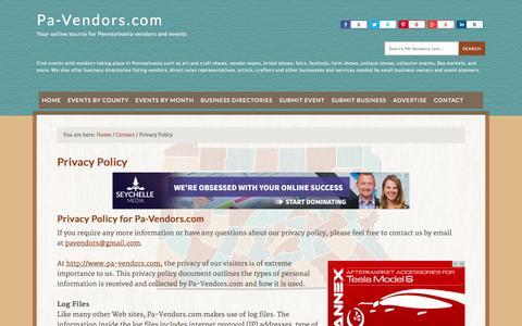 Screenshot of Privacy Page pa-vendors.com - PaVendors.com Privacy Policy — Pa-Vendors.com - captured Nov. 4, 2014