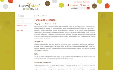 Screenshot of Terms Page tazzytotes.com - Terms and Conditions - captured Oct. 26, 2014