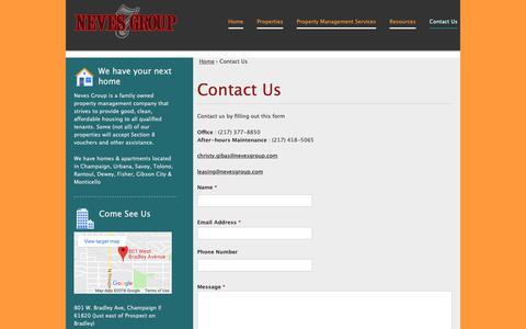 Screenshot of Contact Page nevesgroup.com - Contact Us | Neves Group - captured Oct. 19, 2018