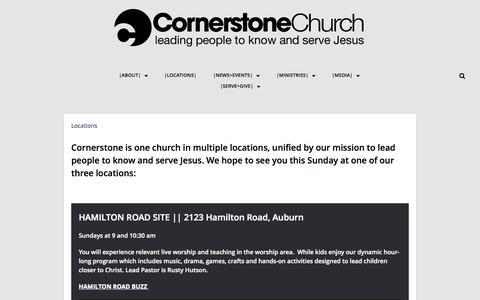Screenshot of Locations Page cornerstonebuzz.org - Locations | Cornerstone Church - captured Oct. 3, 2014