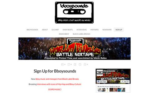 Screenshot of Signup Page bboysounds.com - Sign Up for Music and Articles from Bboysounds - captured June 1, 2017