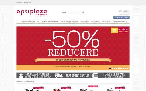Screenshot of Home Page optiplaza.ro - Optiplaza - Ochelari de soare , Ochelari de vedere, Lentile de contact, Produse originale, Preturi excelente - captured Oct. 7, 2014
