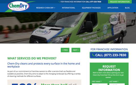 Screenshot of Services Page chemdryfranchise.com - What Services Do We Provide? » Chem-Dry Franchise - captured Aug. 20, 2019