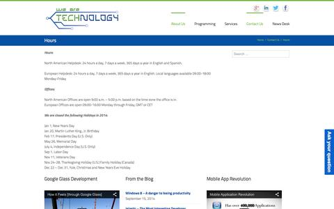 Screenshot of Hours Page wearetechnology.com - Hours - We Are Technology - captured Oct. 7, 2014