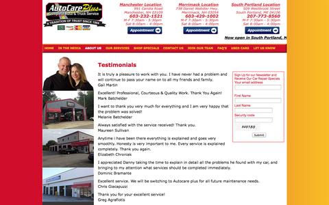 Screenshot of Testimonials Page autocareplus.com - Auto Repair Merrimack NH, Manchester NH, South Portland, ME Brake Repair, Oil Change, Tune Up, Wheel Alignment, Axle Repair - Auto Care Plus New Hampshire & Maine - captured Sept. 30, 2014
