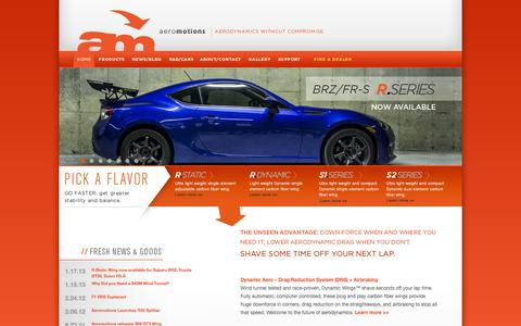 Screenshot of Home Page aeromotions.com - Aeromotions | makers of the world's finest carbon fiber wings and spoilers. - captured Sept. 30, 2014