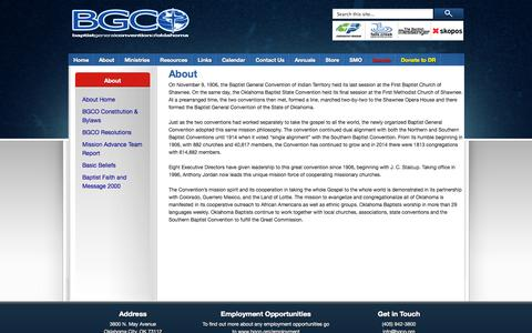 Screenshot of About Page bgco.org - About «  Baptist General Convention of Oklahoma - captured Sept. 30, 2014