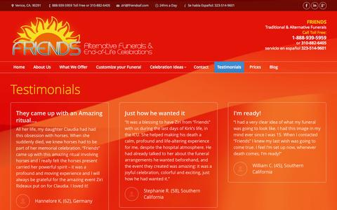 Screenshot of Testimonials Page friendsaf.com - Friends Funeral Home   Testimonials - Friends Alternative Funerals - captured Nov. 3, 2014