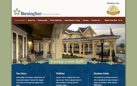 Screenshot of Home Page morningstarseniorliving.com - MorningStar Senior Living | Casting a New Light on Retirement Living - captured Sept. 30, 2014