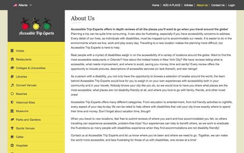 Screenshot of About Page accessibletripexperts.com - About Us - captured Sept. 26, 2014