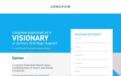 Screenshot of Landing Page longview.com - Longview Solutions - Visionary on the Gartner Magic Quadrant - captured Sept. 19, 2018
