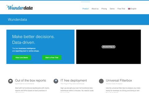Screenshot of Home Page wunderdata.com - Wunderdata - Business Intelligence for eCommerce - captured July 4, 2016