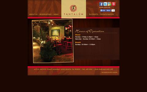 Screenshot of Hours Page tantalumrestaurant.com - Hours «  Tantalum Restauraunt - captured Oct. 7, 2014