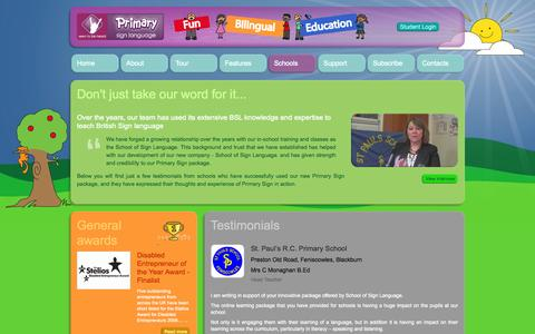 Screenshot of Testimonials Page primarysign.com - Welcome to Seen to be heard - Primary Sign - captured Oct. 4, 2014