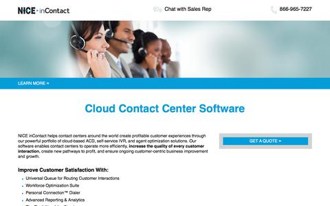 Screenshot of Landing Page niceincontact.com - Call Center Technology Leader | NICE inContact - captured May 29, 2018