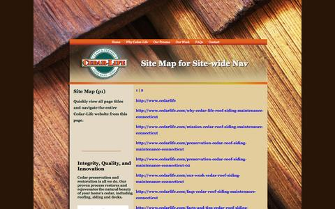 Screenshot of Site Map Page cedarlife.com - Cedar-Life, cedar siding maintenance, cedar roof maintenance, cedar siding, cedar roof - captured Sept. 29, 2014