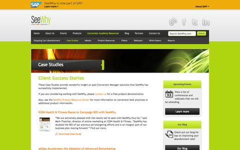 Screenshot of Case Studies Page seewhy.com - Client Success Stories - captured Sept. 17, 2014