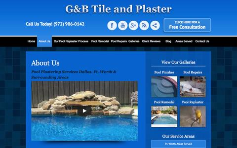 Screenshot of About Page poolsub.com - Dallas Pool plastering, Plano pool replastering, pool renovation - captured Nov. 1, 2014