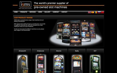 Screenshot of Products Page isms.com.hk - ISMS International Slot Machine Sales - Product Range - captured Oct. 6, 2014